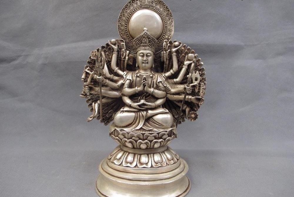 Tibet bouddhisme blanc cuivre argent 1000 main Avalokitesvara Guan Yin kwan-yinTibet bouddhisme blanc cuivre argent 1000 main Avalokitesvara Guan Yin kwan-yin