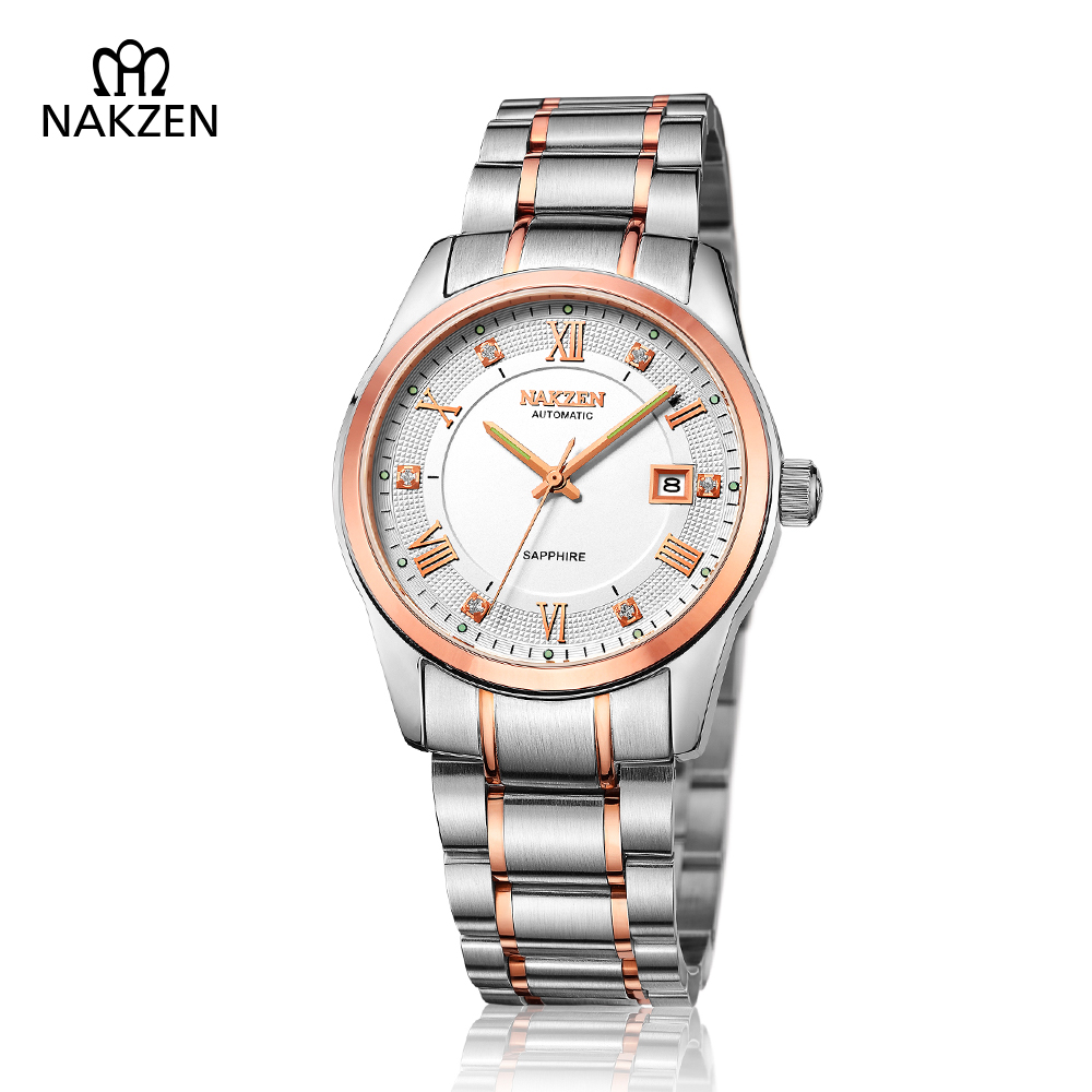 NAKZEN Men's Automatic Mechanical Watch Man Business Sapphire Full Steel Gents Clock High End Luxury Waterproof Quality Watches nakzen men s automatic waterproof 50m watch man steel business dress mechanical clock male luxury sapphire diamond fashion watch