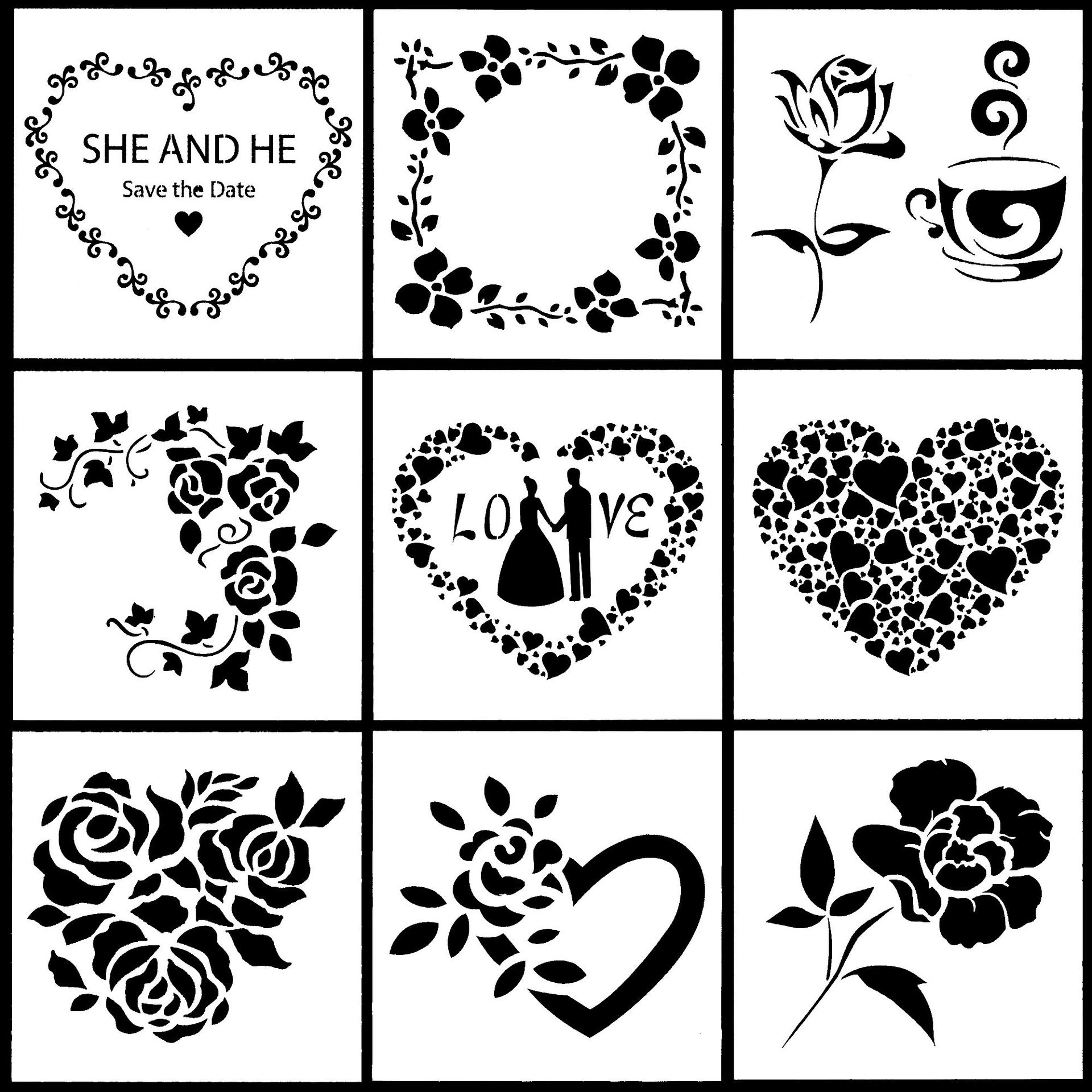 9Pcs/Set 13cm Valentine Lover Rose Flower DIY Layering Stencils Painting Scrapbook Coloring Embossing Album Decorative Template