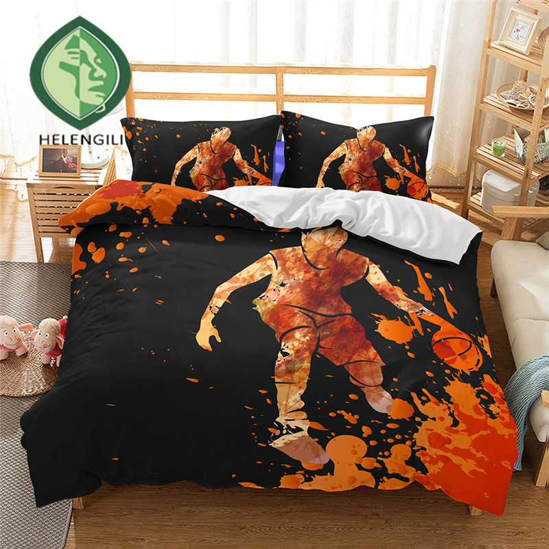HELENGILI 3D Bedding Set Basketball Print Duvet cover set lifelike bedclothes with pillowcase bed set home Textiles #2-05