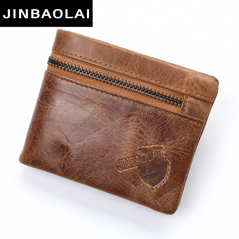 100% Genuine Leather Men Wallet Small Zipper Men Walet Portomonee Male Short Coin Purse Brand Perse Carteira Card Holder for men