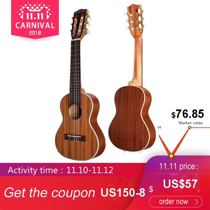 Acouway 28 inch Guitar Guitalele Guitarlele Sapele body 6 Strings 18 Frets Classical Knob Bundle with optional ,bag,tuner,capo цена