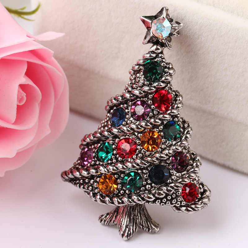 84f781e4b4 CINDY XIANG Colorful Rhinestone Christmas Tree Brooches for Women Vintage  Pins Party Gift Jewelry Coat Sweater Accessories 2018
