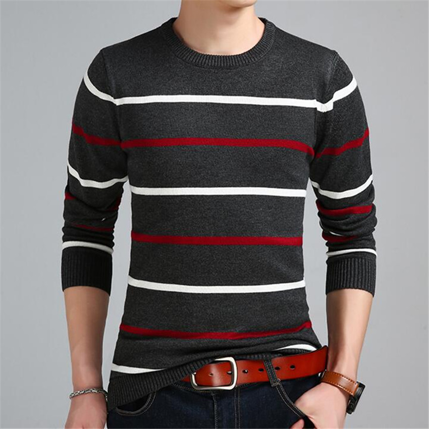 Autumn Men's New Casual Horizontal Stripes Color Matching Mens Sweater Fashion Brand Breathable Cotton Long Sleeve Men Sweaters