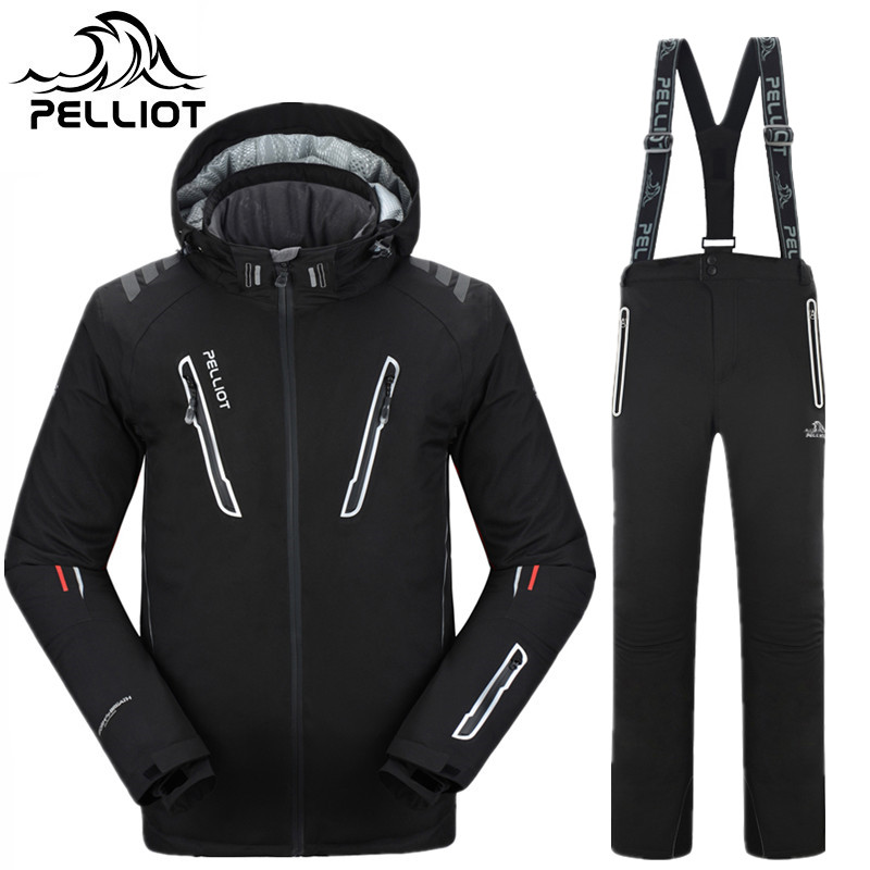 Pelliot Brand Ski Suit Men Snowboard Jacket+Ski Pants Men Waterproof Breathable Thermal Cotton-Padded Super Warm Skiing Suits