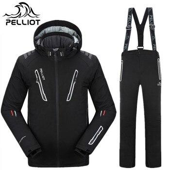 Pelliot Marke Ski Anzug Männer Snowboard Jacke + Ski Hosen Männer Wasserdicht Atmungsaktiv Thermische Baumwolle Gefütterte Super Warm Skifahren anzüge
