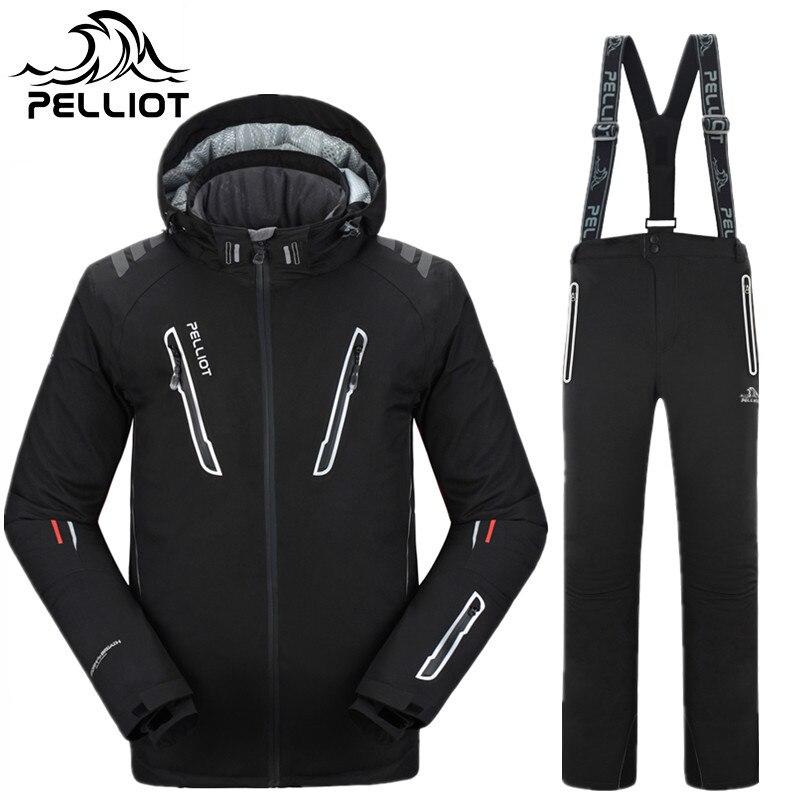 Pelliot Marque Ski Snowboard Hommes Veste de Ski + Pantalon Hommes Imperméable Respirant Thermique Coton Rembourré Super Chaud Ski costumes