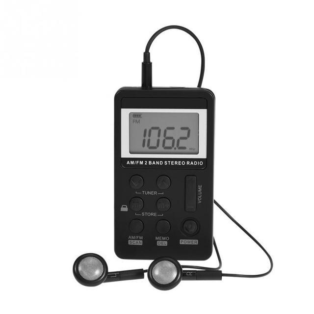 אוניברסלי 2 להקת מיני רדיו נייד AM/FM Dual Band סטריאו כיס רדיו מקלט w/ LCD תצוגה & אוזניות