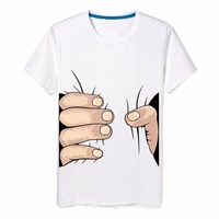 2014 Men Clothes Big Hand T Shirt 3D Visual Creative Personality Spoof Grab Your Cotton T