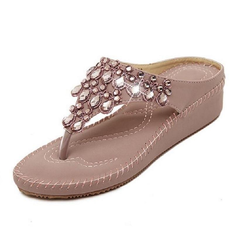 2017 New Fashion Summer Women Sandals High Heels Flip Flops Beach Wedge Sandals Rhinestones Platform Wedge Flip Flops Size 35-40