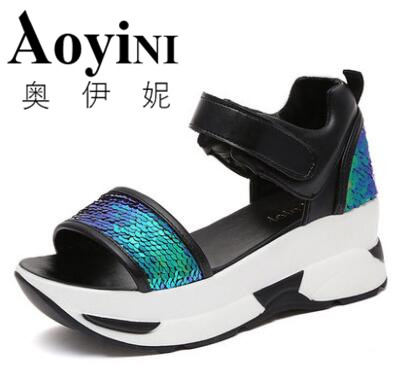 2017 Summer Style Glitter Wedges Gladiator Sandals Creepers Platform Shoes Woman Gold Silver Women Shoes timetang 2017 leather gladiator sandals comfort creepers platform casual shoes woman summer style mother women shoes xwd5583