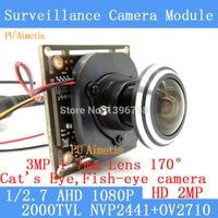 PU`Aimetis 1/2.7 1920*1080 AHD Mini Camera Module 2MP 1080P 360 Degree Wide Angle Fisheye Panoramic Camera Infrared Surveillance
