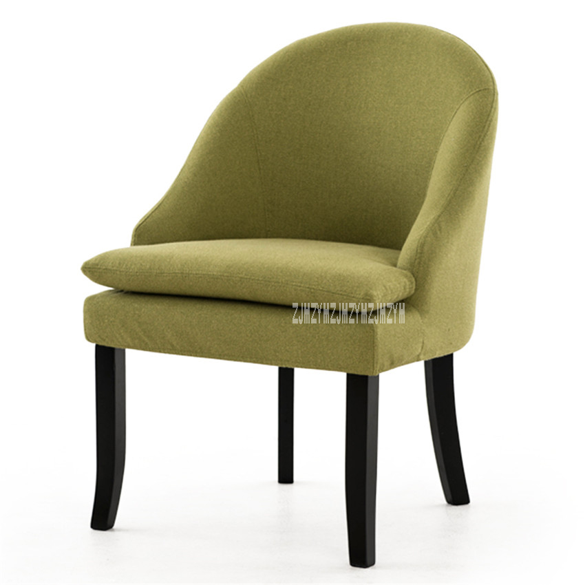 HLM-303C Removable Washable Upholstered Armchair Living Room Single Sofa Chair Simple Rubber Wood Lazy Sofa Balcony Bedroom