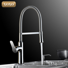 XOXO360 Swivel Solid Brass Single Handle Mixer Sink Tap Down Chrome Kitchen Faucet hot and cold water 1342