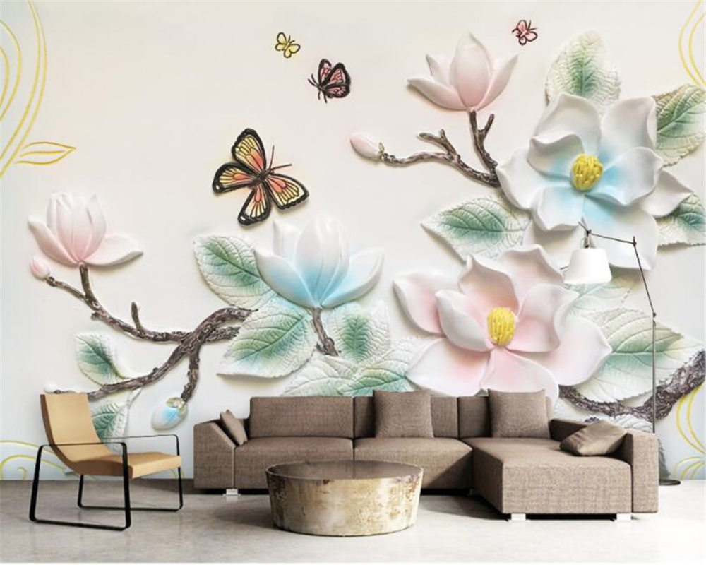 US $8 85 OFF Keluarga Modern Kamar Dihiasi Lukisan Dinding Wallpaper 3d Relief Bunga Kupu Kupu Stereo Fashion Foto Wallpaper Kertas Peint