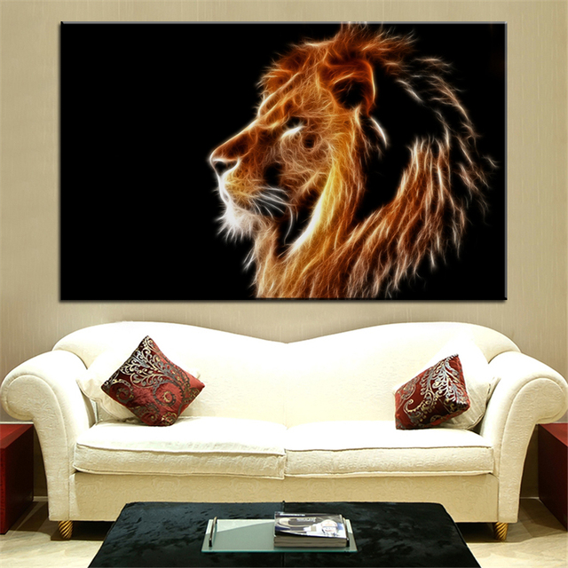 Superb Large Size Printing Oil Painting Glowing Lion Wall Painting Decor Wall Art  Picture For Living Room