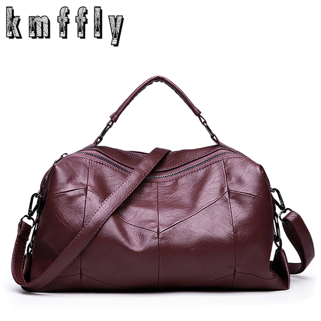 762ae237b591 2017 Autumn Winter Woman Handbag Big Double Zipper Boston Brand Luxury  Women Shoulder Bags Leather Messenger Bag Red Handbag