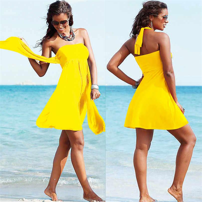 fb5d3658fa4 Summer Women Beach Sarongs Pleated Dress Bathing Suit Off Shoulder  Strapless Beach Dress Tunic Women Swimwear