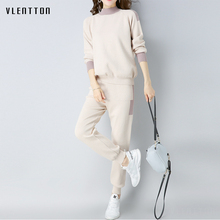 Autumn Winter Knitted Tracksuits Suits Set 2018 Fashion New Elegan Two Piece Women Sweater And Pants 2 set