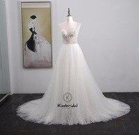 vestido de noiva New Gorgeous White Wedding Dresses Summer Style Beading Tulle Bride Dress Spaghetti Strap