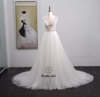 vestido de noiva New Gorgeous White Wedding Dresses Summer Style Beading Tulle Bride Dress Spaghetti Strap