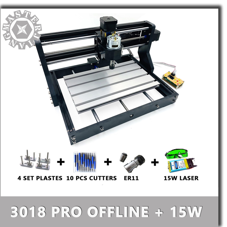 CNC 3018 Pro GRBL Mini Laser Engrave Machine+15W Laser Module+offline  Controller 3 Axis Pcb Milling Machine Wood Router