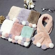 Зимний милый детский шарф; шарфы для мальчиков и девочек; Детский шарф с воротником из искусственного меха кролика с помпоном; теплые шарфы; Рождественский подарок
