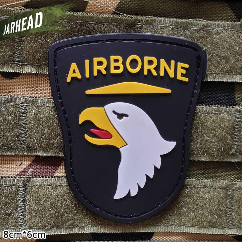 101st 空挺師団の軍事 Pvc パッチベルクロゴム腕章戦術的なバッジ人格バックパック帽子服
