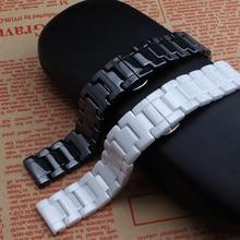 Новое прибытие 14 мм 16 мм 18 мм 20 мм 22 мм Черный белый Керамический watcbands ремень Пояс браслет группы для моды алмаза часы дамская