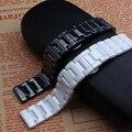 Nueva llegada 14mm 16mm 18mm 20mm 22mm Negro blanco De Cerámica watcbands correa de pulsera de la Correa de banda para el diamante de la manera relojes de señora