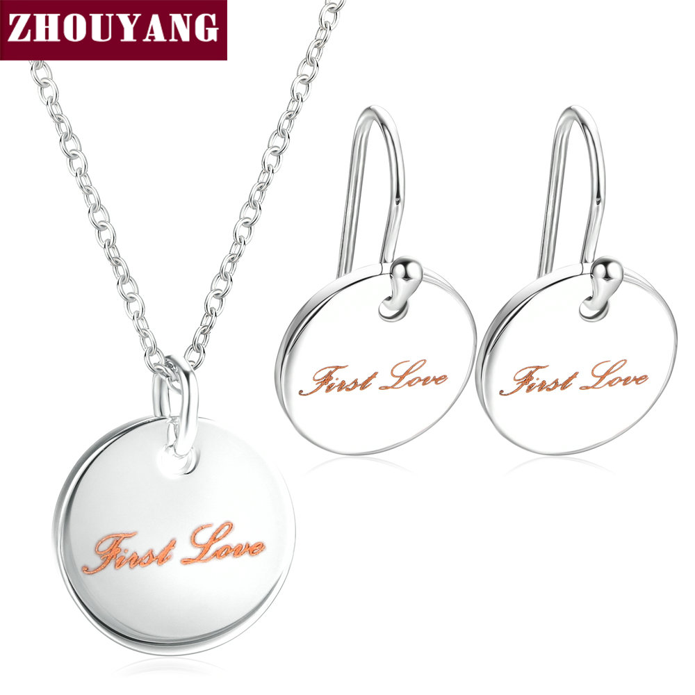 Top Quality ZYS076 First Love Silver Color Jewelry Necklace Earring Set Rhinestone Made with Austrian Crystal Health