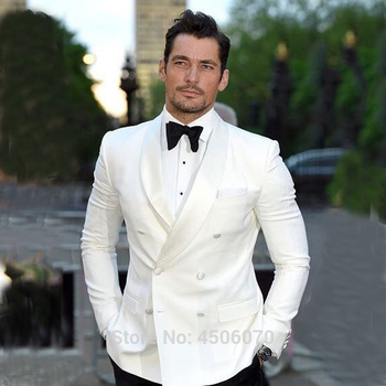 Ivory Mens Wedding Suits Slim Fit Tuxedos Double Breasted Groom Wear Bridegroom 2Pcs Jacket Pants Costume Homme