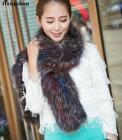 Free Shipping Fox Fur Scarf Hand Knitted Genuine Fox Fur Scarf Neck Warmer Women and Men Fox Fur Scarf Collar Winter Neckchief