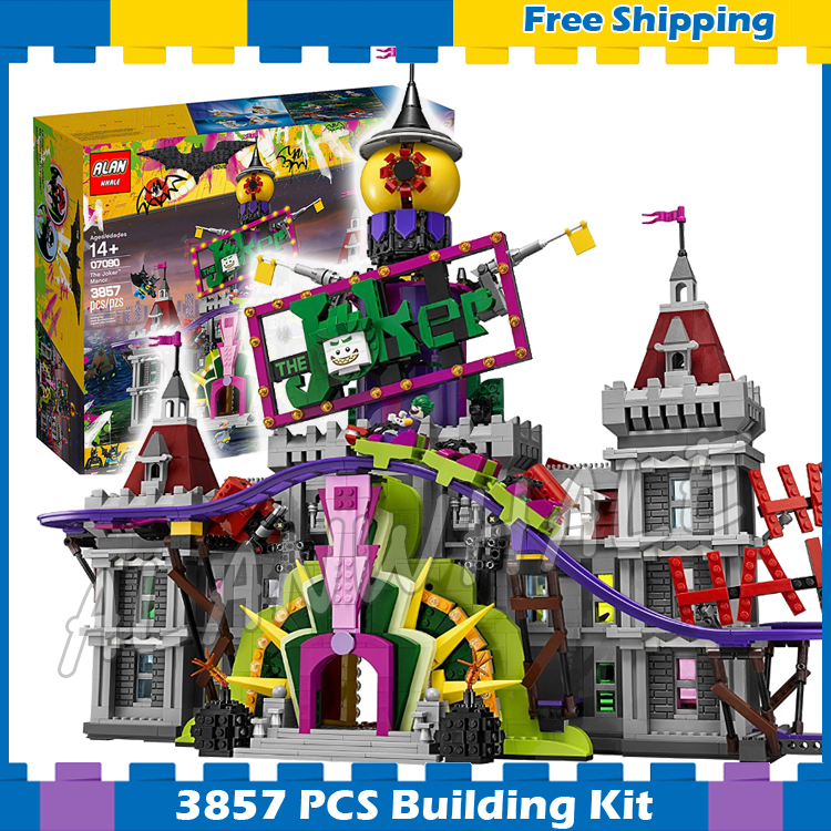 3857pcs Super Heroes Batman Movie Joker Manor Castle Jokerland 07090 Model Building Blocks Gifts Sets Compatible With lego 1pc super heroes catwoman robin joker batman movie figures poison harley quinn building blocks compatible with legoingly batman