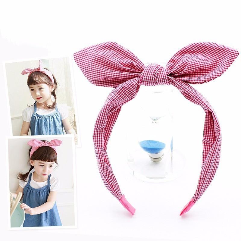 Korean Style Plaid Rabbit Ears Kid Hair Hoop Boutique Baby Hairbands Princess Headwear Girls Hair Accessories Children Headbands