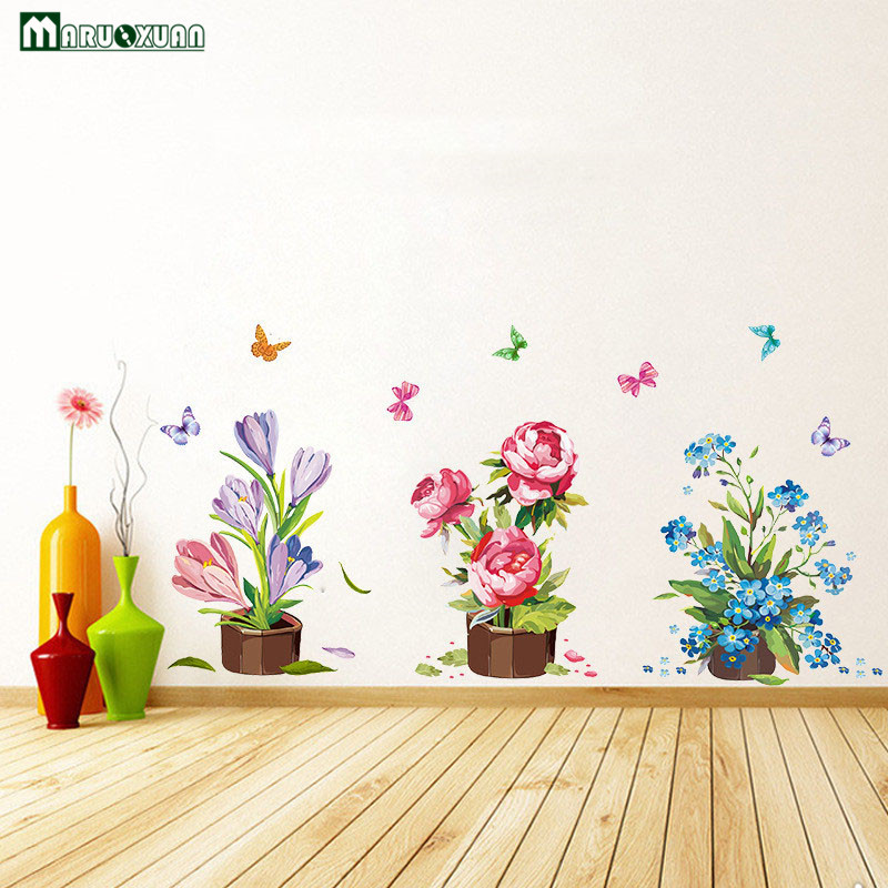 Maruoxuan Diy Wall Stickers Home Decor Potted Flower Pot Butterfly Kitchen Window Glass Bathroom Decals Waterproof