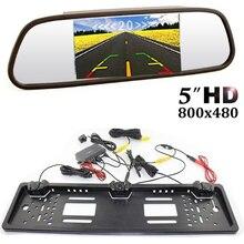 Все парковки датчиков CCD ЕС Европейский Русский Автомобильный номерной знак камера + HD 5 inch 800×480 зеркало автомобиля монитор, Бесплатная доставка