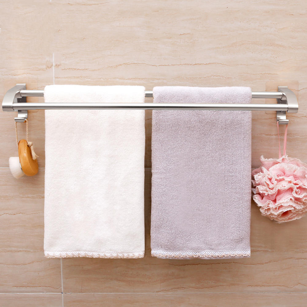 Space Aluminum Double Towel Bar Wall Mounted Towel Rack Bathroom Kitchen Towel Rack Holder AccessorySpace Aluminum Double Towel Bar Wall Mounted Towel Rack Bathroom Kitchen Towel Rack Holder Accessory
