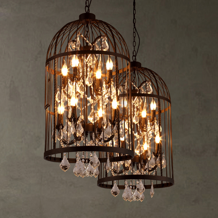 American country vintage clothing store restaurant birdcage crystal lamp lamp villa staircase pendant lightAmerican country vintage clothing store restaurant birdcage crystal lamp lamp villa staircase pendant light