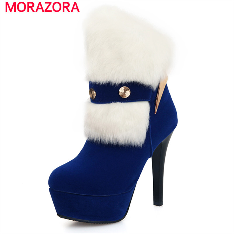 ФОТО MORAZORA Autumn winter wedding party shoes women boots high thin heels boots fashion platform ankle boots big size
