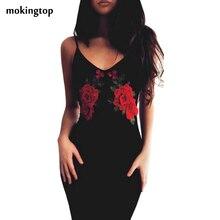 Mokingtop bodycon dress sexy negro floral de rose del hombro dress delgado mujeres de la vendimia vestidos de fiesta vestidos de playa #121