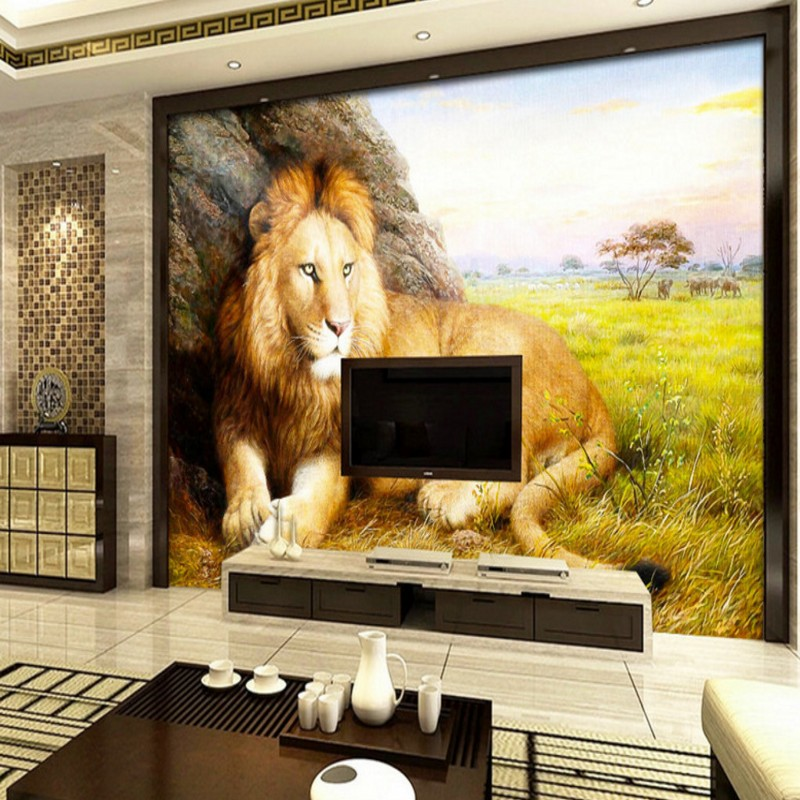 Custom photo wallpaper Prairie Lion Landscape Oil Painting 3D stereo wallpaper bedroom studio wallpaper custom office mural iarts aha072962 hand painted thick texture of knife painting trees oil painting red 60 x 40cm