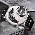 Oulm relógios design exclusivo multipe fuso horário pulseira de couro masculino quart relógio de pulso oulm 9591 moda masculina relógios reloj hombre