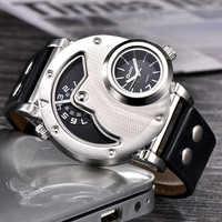 Relojes Oulm diseño único Multipe huso horario correa de cuero hombre Quart reloj de pulsera Oulm 9591 relojes de moda para hombres reloj para hombre