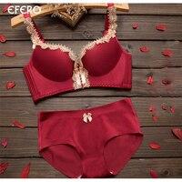 Efero Women Underwear Brief Sets Sexy Lace Embroidery Bralette Push Up Gather Bra Seamless Bras For
