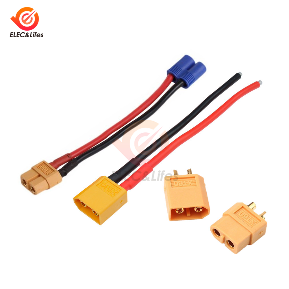 XT60 XT90 Male Female Plug Connector Adapter Cable For RC Lipo Battery Drone Car XT60 EC2 Banana Male To Female Plug Connector