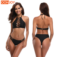 New Hollow Bikini Women Swimsuit Strappy Braided Swimwear High Neck Halter Backless Bathing Suit S-XL Girl Solid Mini Bikini Set stylish halter strappy backless crochet underwire bikini set for women