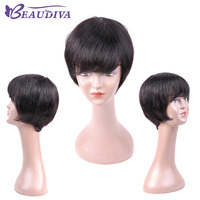 BEAU DIVA Pre Colored Short Human Hair Wigs For Women Natural Black Non Remy 6inch Bob Hair Wigs For Sale Free Shipping