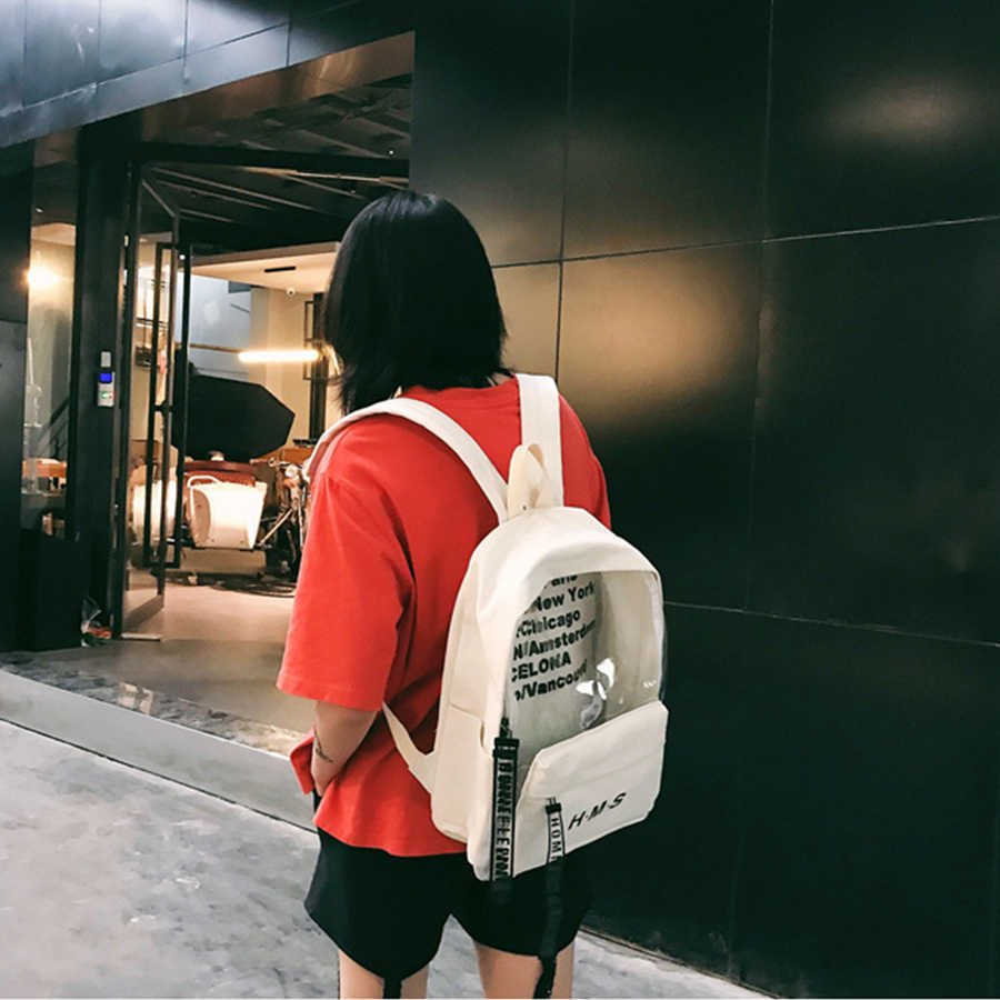 7b26bcd5715 ... 2018 Fashion Letter Transparent Women Backpack College Design Canvas  School Bag For Teen Girls Travel Bag ...
