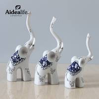 3pcs resin elephant animals figurines home decoration accessories feng shui products little gift crafts chinese souvenirs